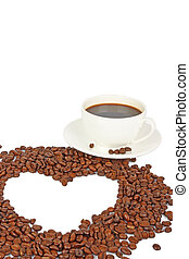 coffee beans heart & cup