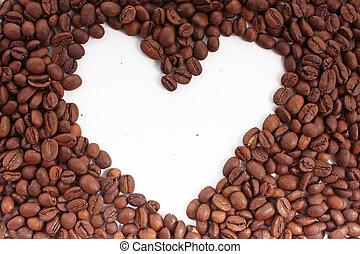 Coffee beans heart on the white background