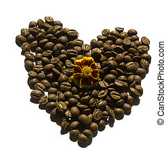 coffee beans heart with flower isolated on white background