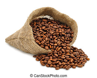 Coffee beans in a bag isolated on a white background