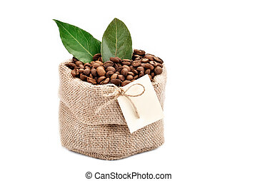 Coffee beans in a bag of sackcloth on a white background with blank tag.
