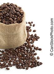 coffee beans in a burlap bag