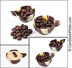 Coffee beans in a chocolate cup
