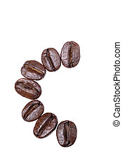 "Coffee beans in a form to spell the letter ""C"" to be used with the other letters to spell out the word ""Coffee"" isolated on white"