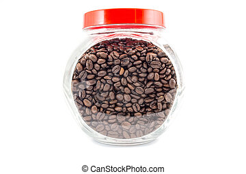 coffee beans in a glass jar isolated on white background