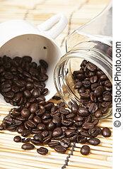 Coffee beans in a jar.