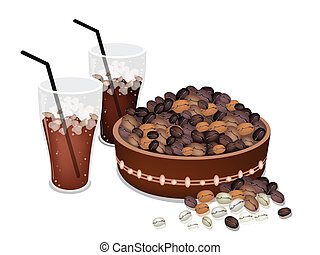 Coffee Beans in A Pail with Iced Coffee