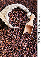 Coffee beans - in burlap with scoop