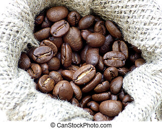 coffee beans in canvas jar