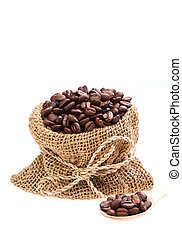 Coffee beans in canvas sack isolated on white background