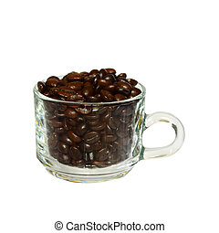 coffee beans in glass coffee cup