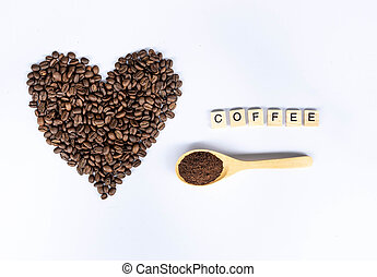 coffee beans in heart shaped with coffee word