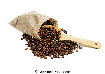 Coffee beans in jute sack with wooden spoon isolated on ...