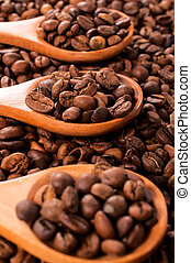 Coffee beans in ladle