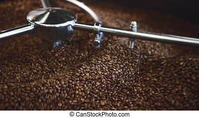 coffee beans in roaster - Closeup shot of a traditional...