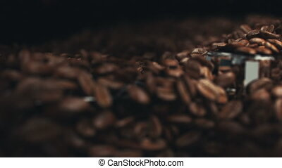 Coffee beans in the grinder