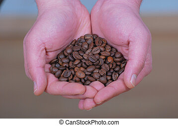 Coffee Beans In The Hand