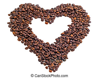 Coffee beans in the shape of a heart on a white background