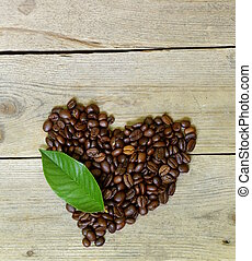 coffee beans in the shape of heart