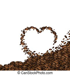 Coffee beans in the shape of hearts.