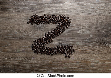 Coffee Beans in the Shape of Letter Z
