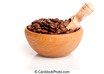 coffee beans in the wooden bowl, isolated on white background