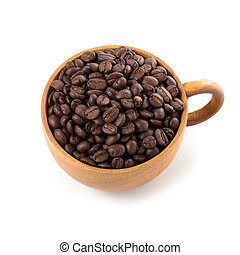 Coffee beans in wooden cup ioslated on a white background