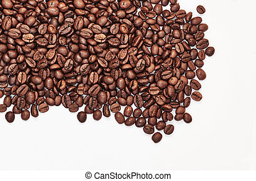 Coffee beans. Isolated on a white background. With space for text.