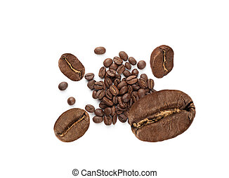 Coffee Beans isolated on white background. Top view.