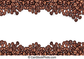 Coffee beans isolated on white background with white space for text in the middle