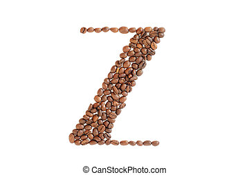 Coffee beans. Letter Z made from coffee beans on a white background. Brown