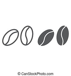 Coffee beans line and glyph icon, coffee and cafe, arabic sign vector graphics, a linear pattern on a white background, eps 10.