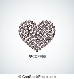 coffee beans love concept vector background