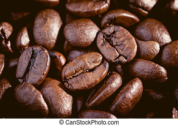 Coffee beans. Macro close up for background and texture