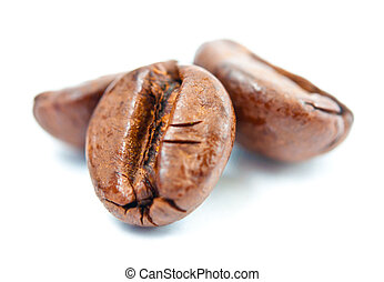 Coffee beans macro isolated on white