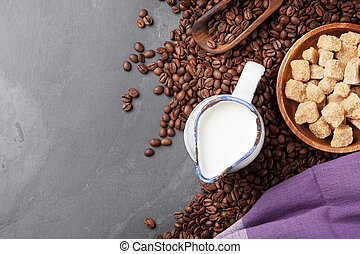 Coffee beans, milk and brown sugar