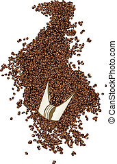 Coffee beans on a shovel