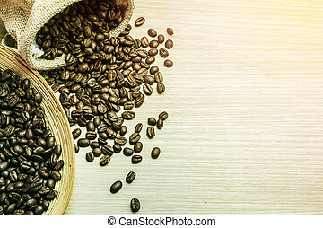 Coffee beans on a tray