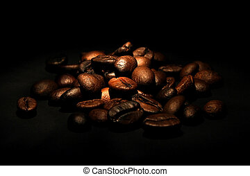 coffee beans on black background