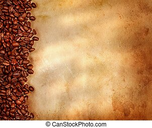 Coffee beans on old parchment paper