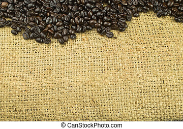 coffee beans on sack background