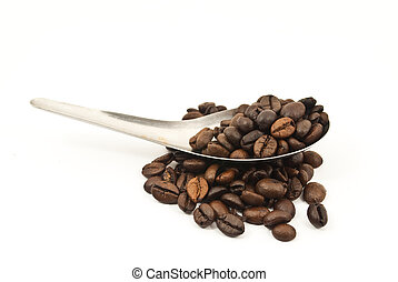 Coffee beans on the spoon.