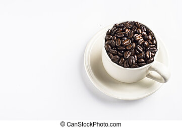coffee beans on the white cup with white background