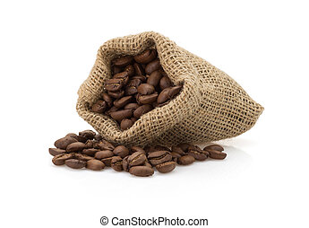 coffee beans on white background - coffee beans in bag...