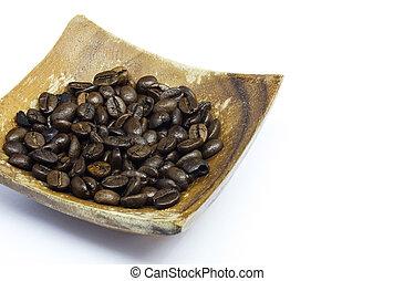 coffee beans on white