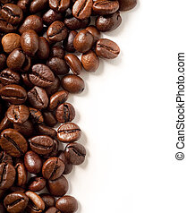 coffee beans on white with space for copy