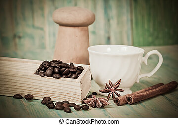 coffee beans on wood table