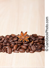 coffee beans on wooden surface