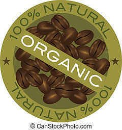 Coffee Beans Organic Label Illustration - Coffee Beans 100%...
