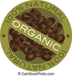 Coffee Beans Organic Label Illustration - Coffee Beans 100%...
